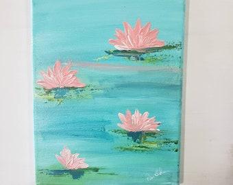 Water Lilies / 9x12 original acrylic painting/  meditative wall decor/ Peach and Teal Home Decor/ Flower wall art/Bathroom Decor