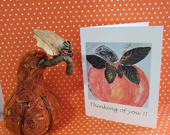 "Blank Note card set of 5 / ""Thinking of you ""/ Pumpkin art / gift packaged /Fall greeting includes self seal envelopes and shipping"