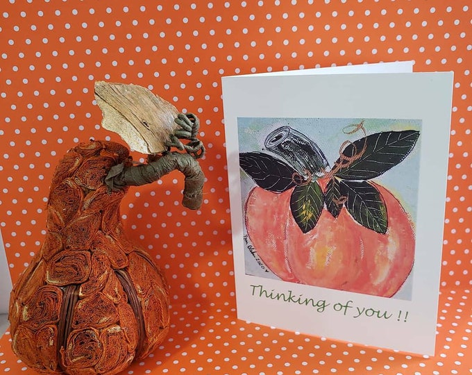 """Blank Note card set of 5 / """"Thinking of you """"/ Pumpkin art / gift packaged /Fall greeting includes self seal envelopes and shipping"""