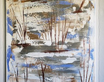 "Original Abstract Painting ""Foggy   Marsh"" /18x24 Wall Art/ Acrylic Man Cave Artwork/nature decor"