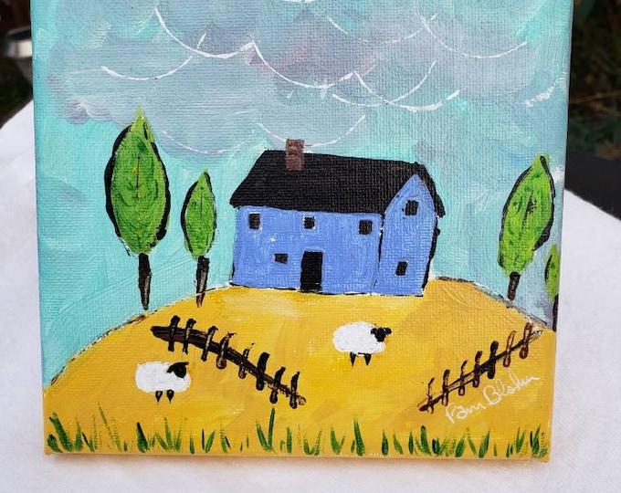 """Original Acrylic Painting """" Blue House on the Hill """" /6x6 Farmhouse artwork/ Farm Sheep / Farm theme Nursery Decor"""