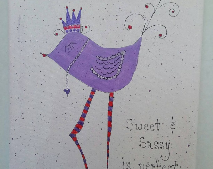 "Original Abstract Acrylic Painting ""Sweet & Sassy"" / 8x10 Whimsey / girls room decor/purple bird/nursery Decor."