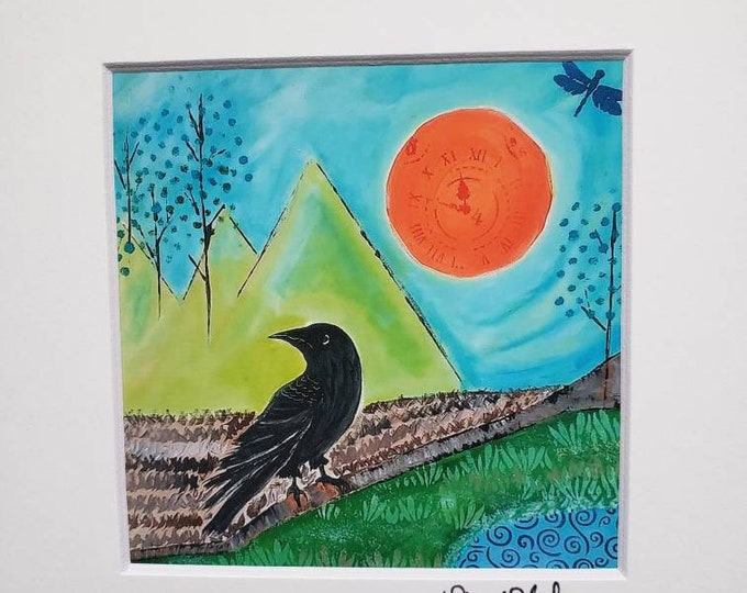 """Artist Print Surrealism """" Crow / White matted print of original painting / 4x4"""" Print matted to 8x8"""" / Flower artwork/ Wall art/ Home Decor"""