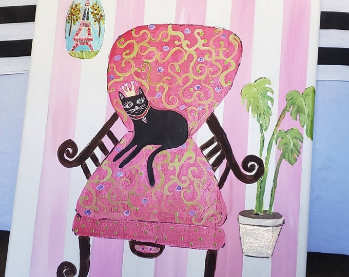 """Original 16x20 acrylic painting.. """"The Cat in the Chair"""" / Crowned Cat/ Nursery Art/ Whimsical Paintings/ Fun Art"""