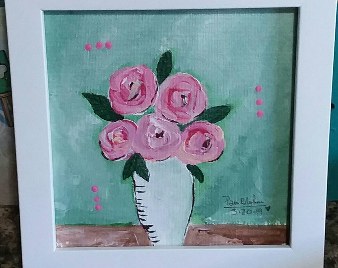 "Framed  ""Rock Roses"" Original acrylic painting / 6x6 Home decor/pink roses/nursery art/bedroom decor/floral art"