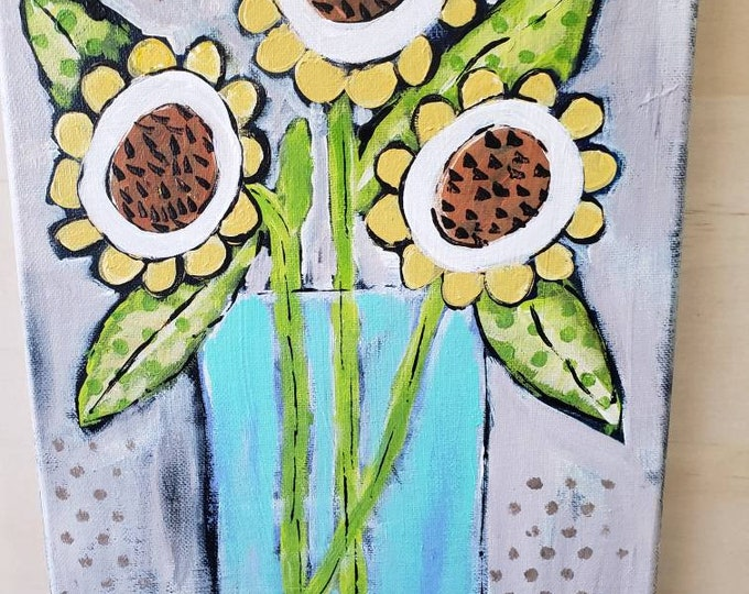 "Original acrylic painting/ Whimsical  ""Wildflowers""  art /9x12 home decor wall art /flower artwork/ Nursery Decor"