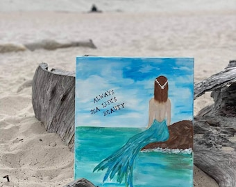 Mermaid at SEA original acrylic painting. 16x20 wrapped canvas wall art / Nursery decor /girls room art