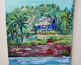 "Original acrylic painting/18×24  ""The Blue  Hut "" / Tropical island wall art /home decor/ ocean art/Hawaii painting/palm trees"