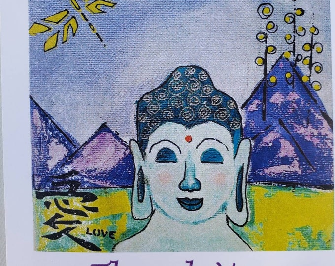 """Buddha """"Thank You"""" Note Card Set /5 pieces includes self adhesive envelopes and shipping"""