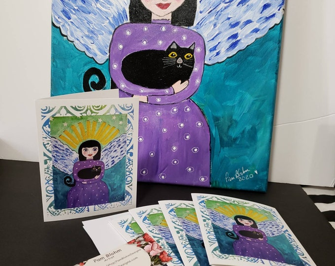 """Artist blank note cards / """"Angel & her black cat"""" set of 5 gift packaged/ artist Pam Blohm /Angel greetings /Printed in the USA"""