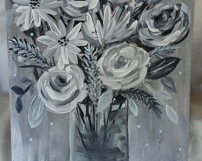 "Original acrylic painting ""shades of gray""  FLORAL Wall art /14x18"