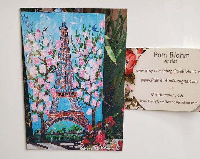 "Paris Eiffel Tower with Cherry Blossoms,  Artist Magnet 3.25"" x 4.50"""