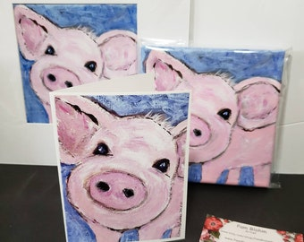 "Artist blank note cards "" Pink Piggy "" /gift packaged set of 5 /artist Pam Blohm / farmyard greetings/Printed in the USA"