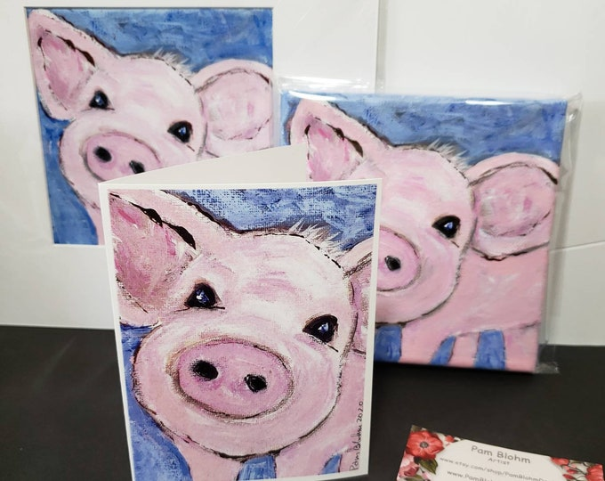 """Artist blank note cards """" Pink Piggy """" /gift packaged set of 5 /artist Pam Blohm / farmyard greetings/Printed in the USA"""