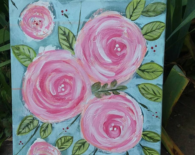 """Original Acrylic Painting """" Pink Cabbage Roses"""" Country Chic/ Cottage Chic/ 11x14/pink roses/ nursery Decor/home Decor/Swirl Flowers"""