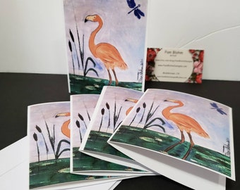 """Tropical  """"Coral Flamingo """" Blank Note Cards /set of 5 / gift packaged"""