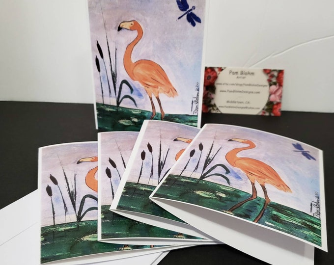 """Blank Note Cards """"Coral Flamingo """" set of 5 gift packaged/ Tropical Art / Dragonfly"""