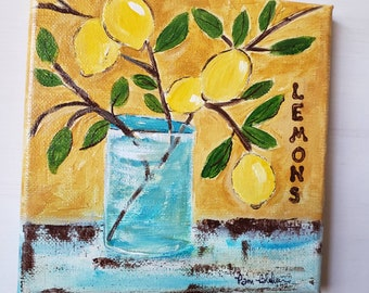 "Original Acrylic Painting  ""Mediterranean Lemon  Branch"" wall decor /6x6 small art/ Lemon Kitchen Decor"