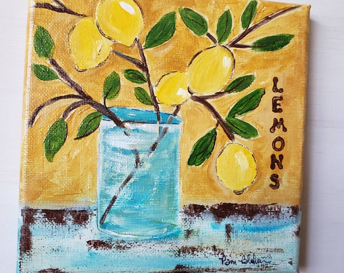"Original ""Mediterranean Lemon  Branch"" wall decor /6x6 small art home decor"