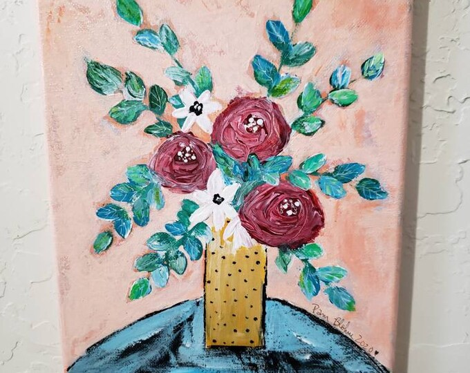"Original acrylic ""Garden Party"" /8x10 floral painting / Wall art /home decor /nursery art"