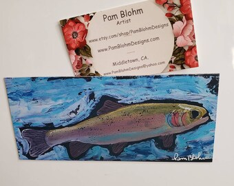 "Rainbow Trout Large Artist Magnet,  from original acrylic painting 3.0"" x 6.25"""