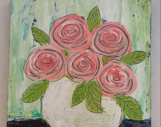 "Original acrylic painting  ""Sweet Peaches"" abstract /6x6 floral wall art/nursery decor/bathroom art/bedroom art/gift idea"