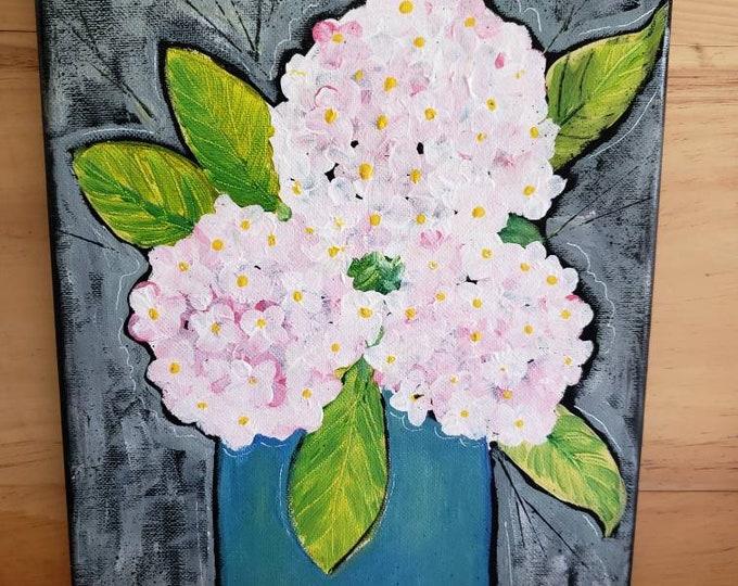 "Abstract ""Pink Hydrangeas "" wall art /9x12 flower painting/home decor /floral artwork /office art/nursery decor."