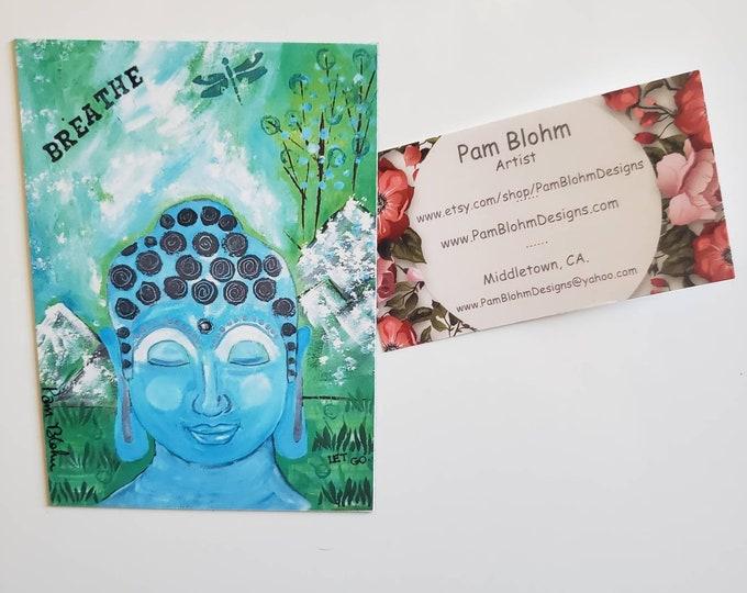 "Zen Buddha Refrigerator art magnet/ 3.75 x 4.75"" Kitchen & Office Decor/ Made in the USA / Meditation / Breathe/ Yoga/ Let Go/"