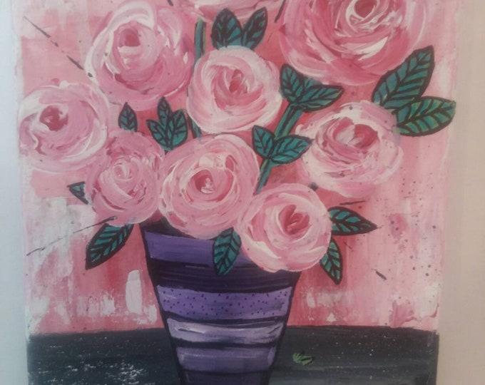 "Original Abstract Acrylic Painting ""Shades of Pink""  Swirl Roses/  8X10/  Home Decor/ floral/original art /nursery art/bedroom art"