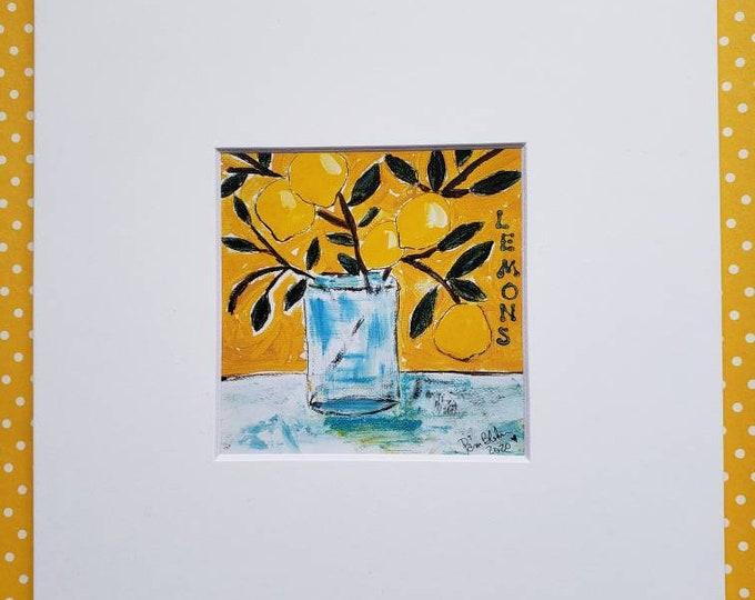"Artist Print "" Mediterranean Lemon Branch "" /matted print of original painting / 4x4 Print matted to 8x8/ Wall art/ Home Decor"