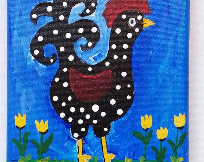 "Original 5x7 acrylic painting. ""My Chicken, Dot""  /  Kitchen Decor /Nursery art/whimsical gift."