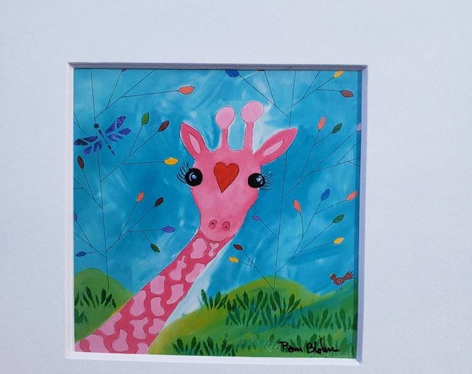 "Pink giraffe Artist Print./ 4x4 Print  white matted to  8x8 "" /Nursery Wall Decor/ Zoo theme /Whimsical Home Decor"