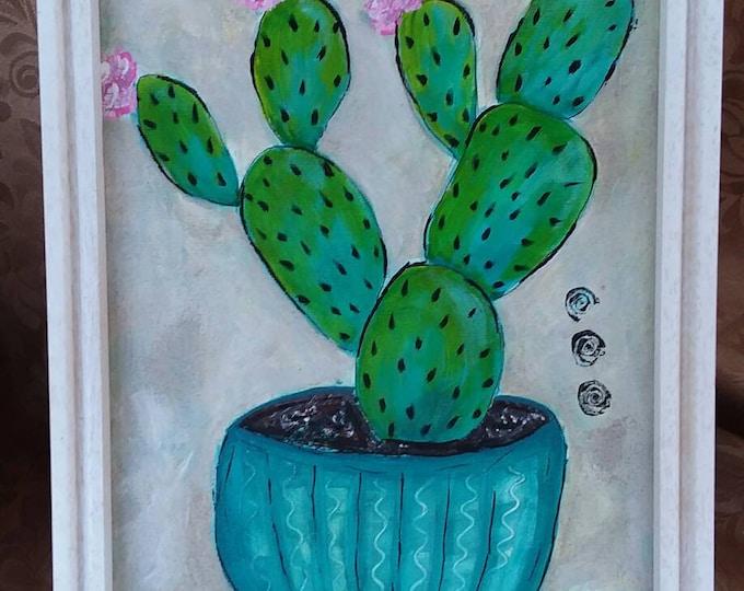 "Original ""Cactus in a Pot"" FRAMED acrylic painting. 9x12 Abstract wall art/ desert art"