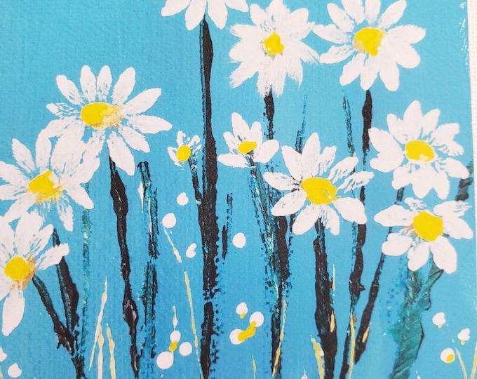 "Fine art Fridge MAGNET /  ""Daisies"" small art gift idea/ printed from Artist original painting"
