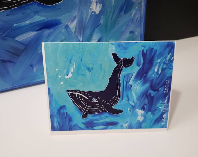 """Artist Note cards / """" Deepsea Diving""""  Whale at Sea / Set of 5 gift packaged cards / ocean art/ greeting cards printed in the USA"""