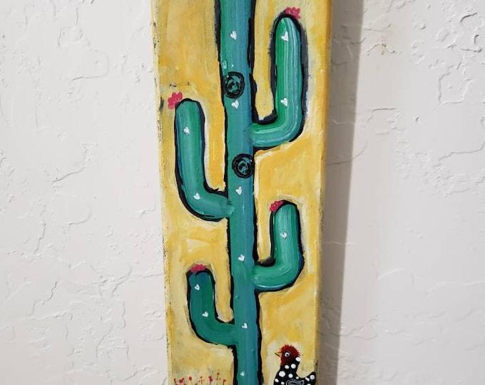 "4x12 original acrylic painting.  ""Prairie Chicken at Sunrise "" Cactus Painting /cactus art/chicken/free shipping/desert art"