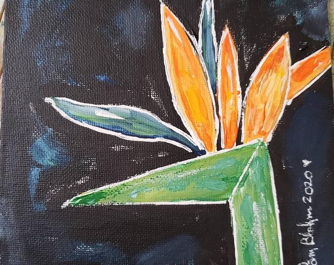 "Original  ""Abstract Bird of Paradise"" / Flower acrylic painting/ 6x6 Canvas Panel / Tropical flower art / wall art /Gardeners Gift"