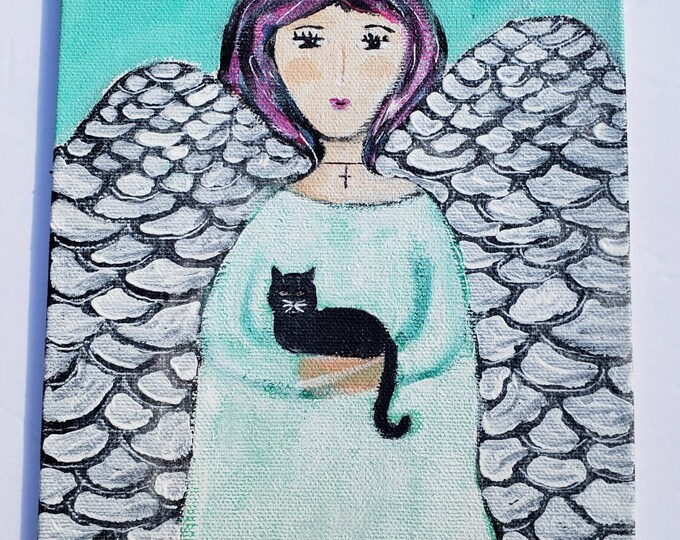 "Original Small Art ""Kitty with Angel""  Acrylic Painting / 6x8 canvas panel/ original home decor wall art"