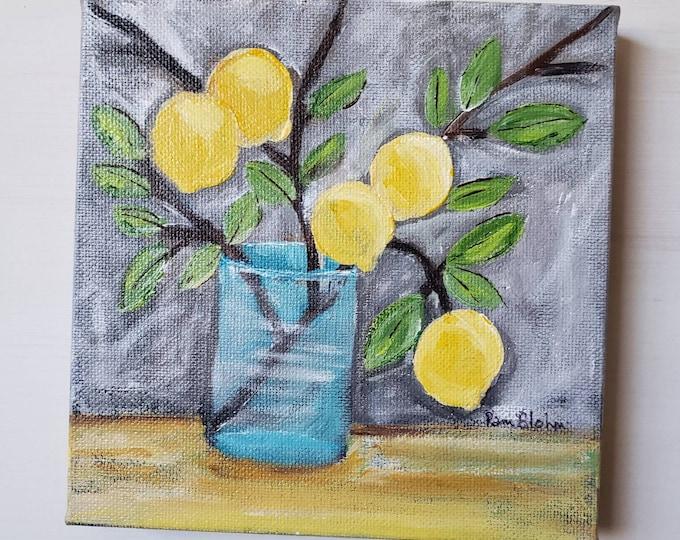 "Original "" Five Lemons Today "" Acrylic Painting/ 6x6 small art canvas wall art /Kitchen Decor / yellow and grey artwork / citrus fruit"