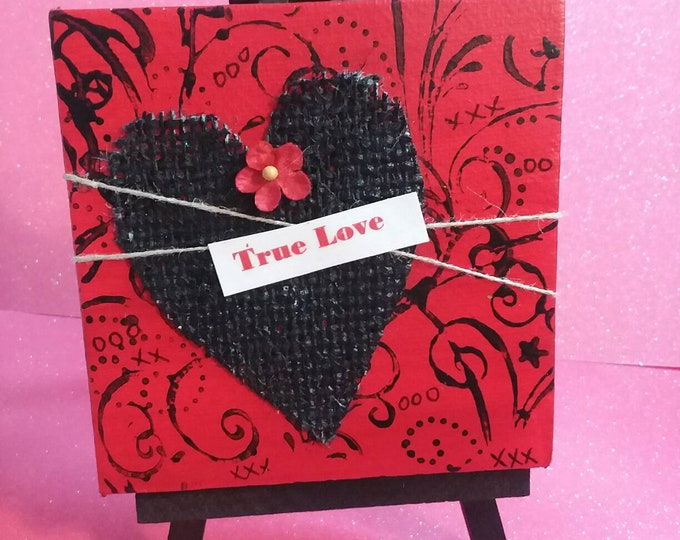 "Original ""True Love"" Mixed Media small art / 4x4  canvas Gift idea/Birthday Gift/Love/"