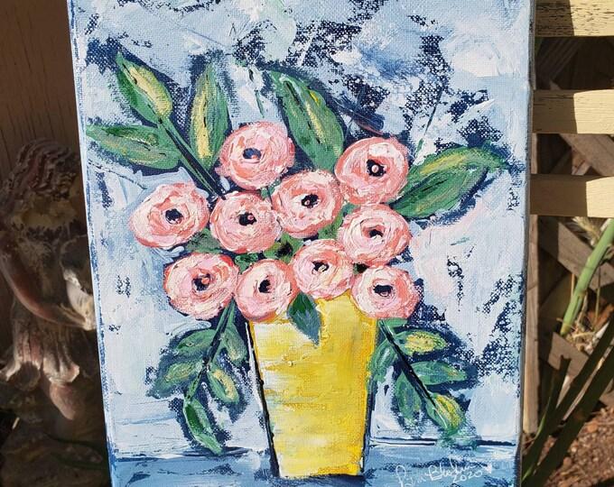 "Original acrylic floral art / 8x10 "" Carnival Cocktail "" wall art/home decor / office artwork /Nursery art / flower painting"