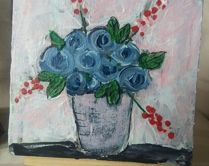 "Flower Painting ""Sapphire Blue"" / 4x4 Small art Canvas / Home Decor/Tiered Tray Decor /birthday gift idea/original art"