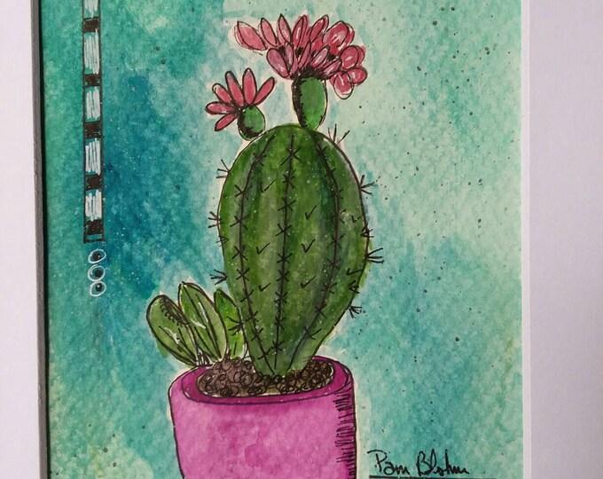 "Original Watercolor & Ink - ""Desert Bloomin""  Cactus. Matted 8x10 / Wall art/home decor/cactus flower/cactus art/original art/free shipping"
