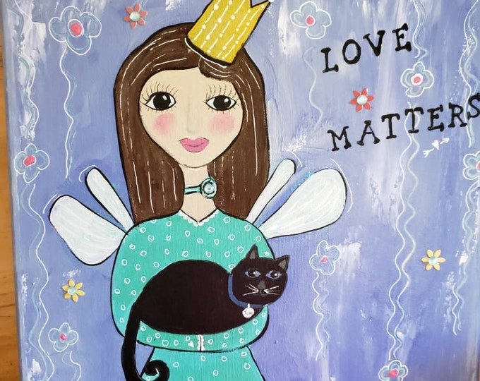 "Original acrylic painting/12x12 Angel with Black Cat ""Love Matters"" Wall art / angel art/ cat art."