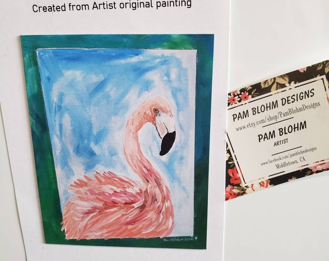 """Art MAGNET """"Flirting Flamingo""""  kitchen decor / gift idea / Strong hold and flexible/made in USA /pretty small art."""