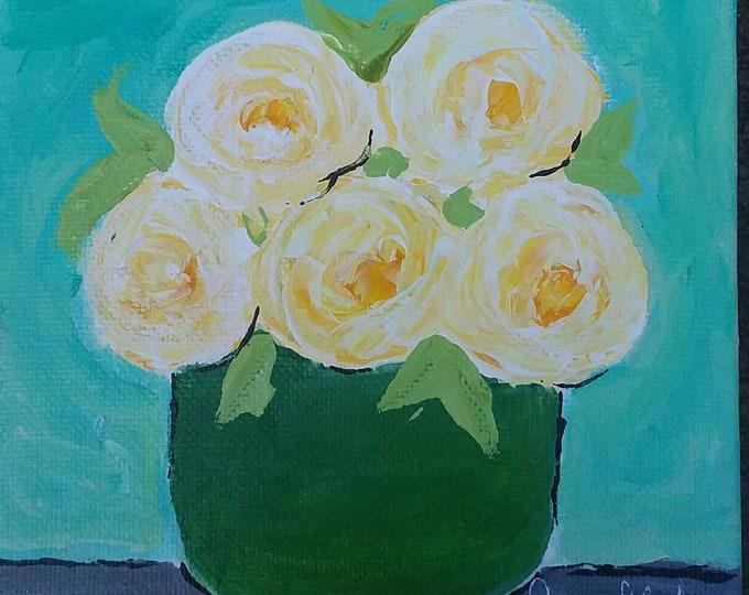 "5x5 original acrylic painting /""Yellow Roses"" Abstract floral art/bedroom art /bathroom art/wall art/small art /office art/nursery painting/"