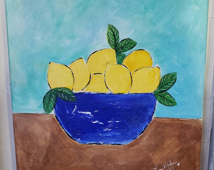 "Farmhouse Art ""Blue Bowl of Lemons "" home decor/office art/ Fruit kitchen art- Original acrylic painting 12x12"