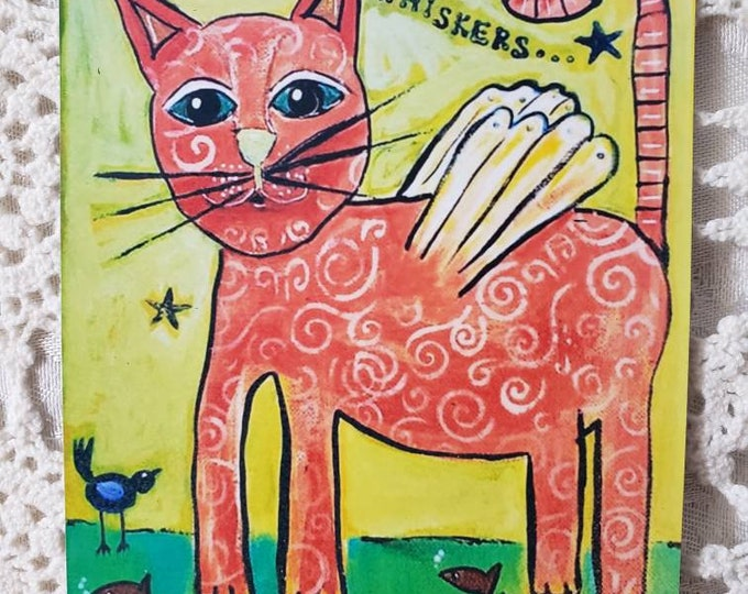 """Art MAGNET small art """"Some Angels have Whiskers""""  / cat lover / gift idea / angel art / office decor/ kitchen decor"""