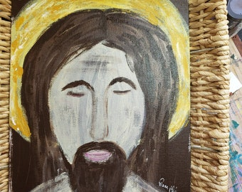 """Abstract """"Ancient Jesus"""" original acrylic paintings/8x10 flat canvas panel"""