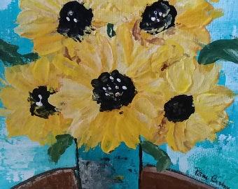 "Original acrylic painting ""Yellow Sunflower Bouquet "" /6x6 canvas panel small art /Home decor/floral art/ Yellow Flowers Art"